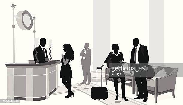 upscale hotel - hotel reception stock illustrations, clip art, cartoons, & icons