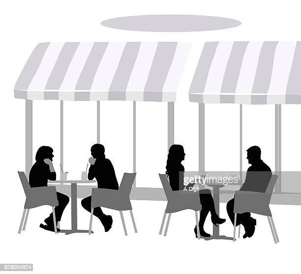 ilustraciones, imágenes clip art, dibujos animados e iconos de stock de upscale terrace restaurant - mesa de comedor