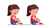 Upset and crying preschool girls kids holding painful wounded bleeded leg knee. Childhood activity injury hazard. Child cartoon characters flat vector clipart illustration.