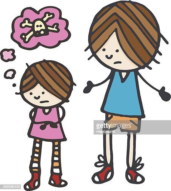 upset sister - family fighting cartoon stock illustrations