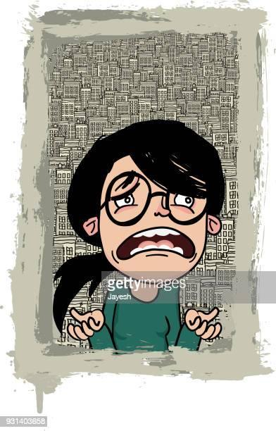 Femme contrariée sur un fond de ville