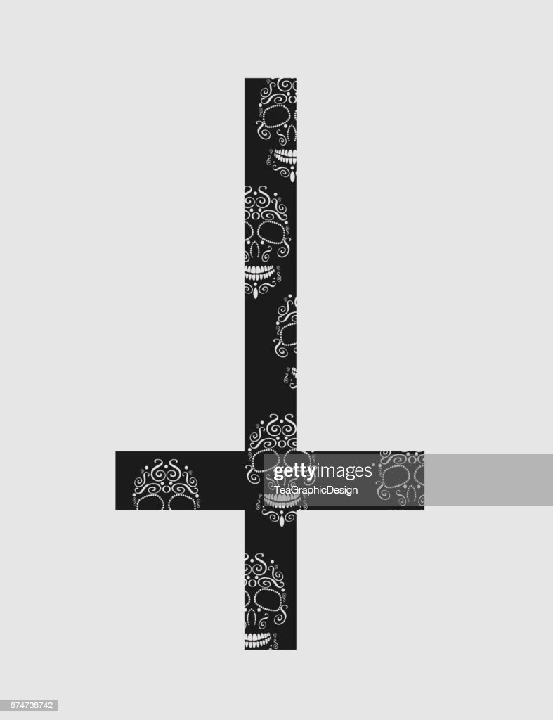 Upside down cross (inverted cross) with skulls