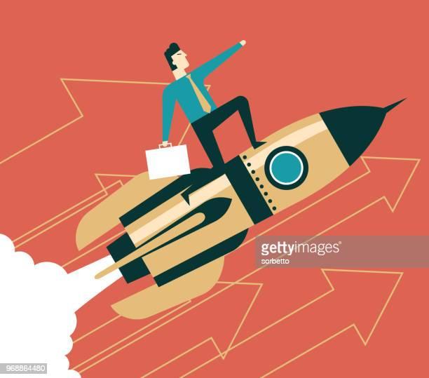uptrend - businessman - ship launch stock illustrations