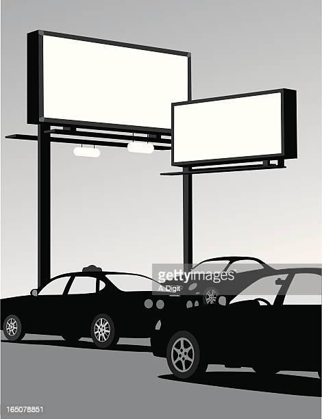 urban advertising vector silhouette - sedan stock illustrations, clip art, cartoons, & icons