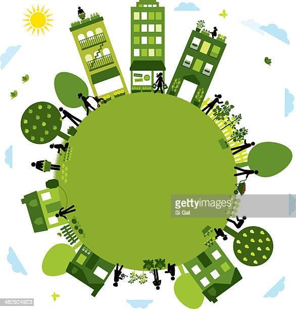 ilustrações, clipart, desenhos animados e ícones de urban agricultura comunidade - produto local