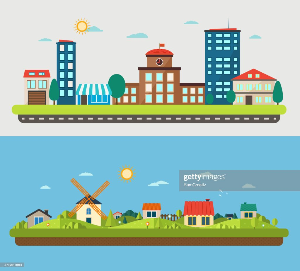 Urban and village landscapes on blue and light background