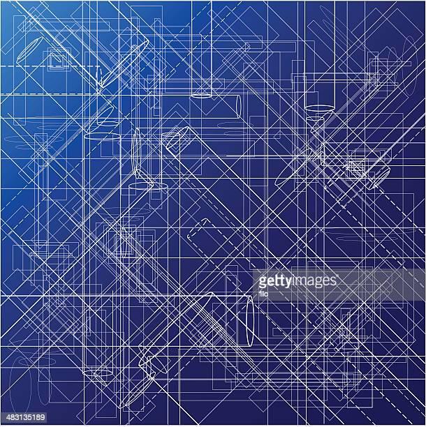 urban blueprint [ vektor ] - technische zeichnung stock-grafiken, -clipart, -cartoons und -symbole
