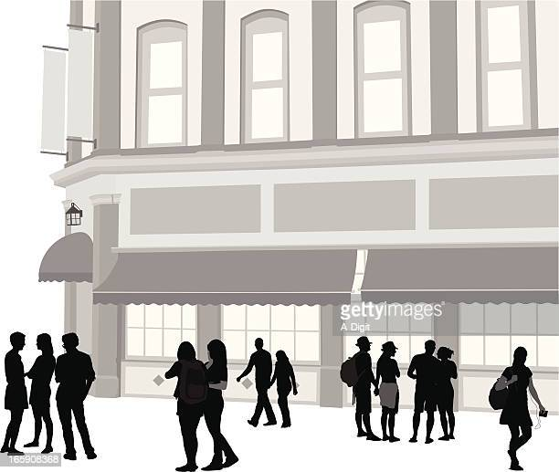 urban business vector silhouette - awning stock illustrations, clip art, cartoons, & icons