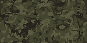 Urban camouflage, modern fashion design. Camo military protective. Army uniform. Grunge pattern. Green and brawn shade color, fashionable, fabric. Vector seamless texture.