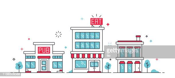 urban city buildings - store stock illustrations