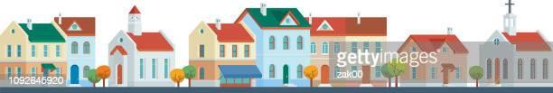 illustrations, cliparts, dessins animés et icônes de maisons urbaines de ville - maire