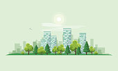 Urban City Landscape Street Road with Trees and Skyline Background