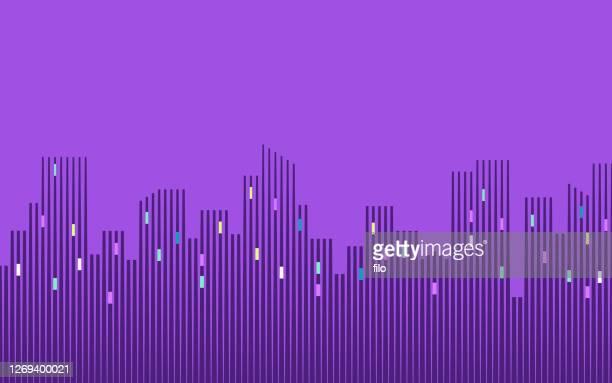 illustrazioni stock, clip art, cartoni animati e icone di tendenza di grattacieli skyline città urbana - grattacielo