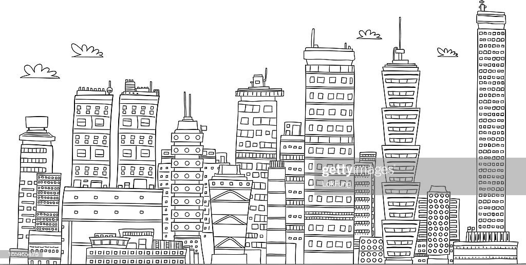 Urban city's building illustraion in black and white