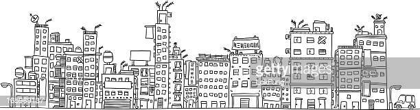 Urbain ville bâtiment illustraion en noir et blanc