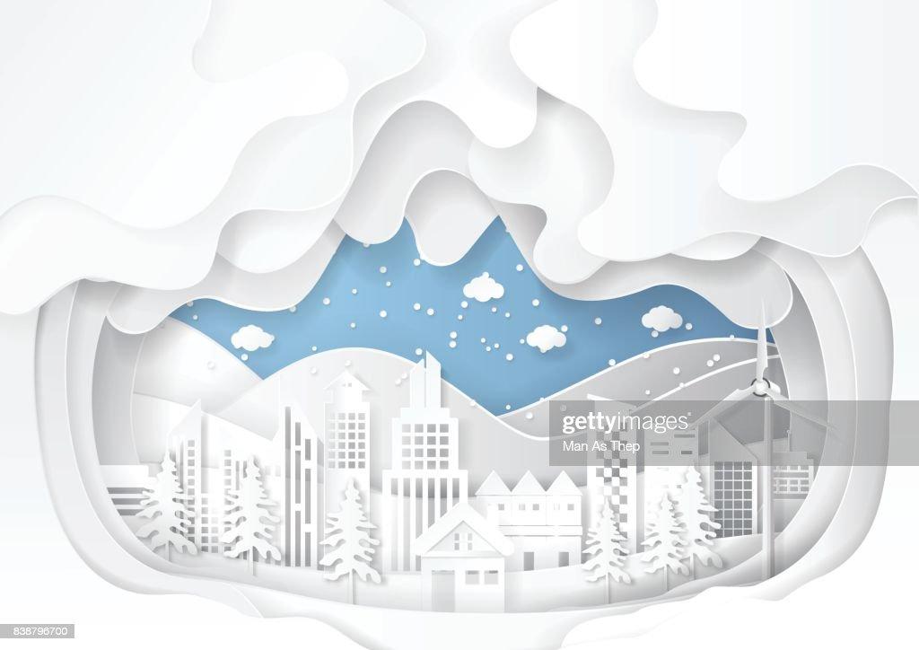 Urban cityscape on snow winter background.