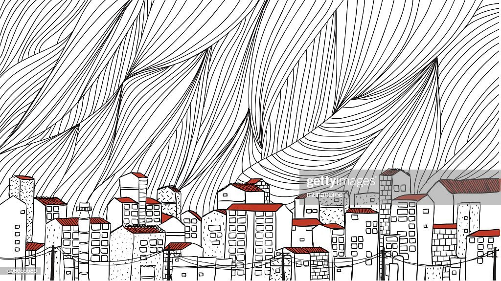 Urban cityscape outline hand draw : Vector Art