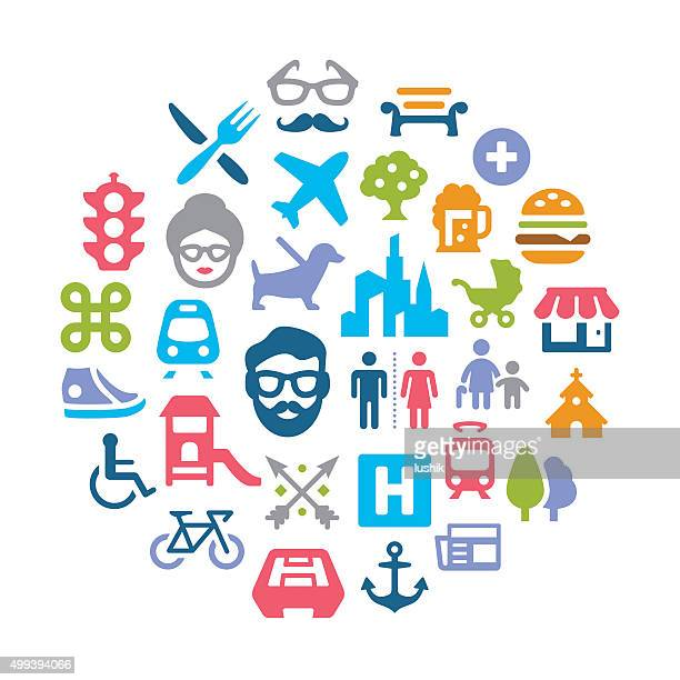 urban collage - assistive technology stock illustrations, clip art, cartoons, & icons
