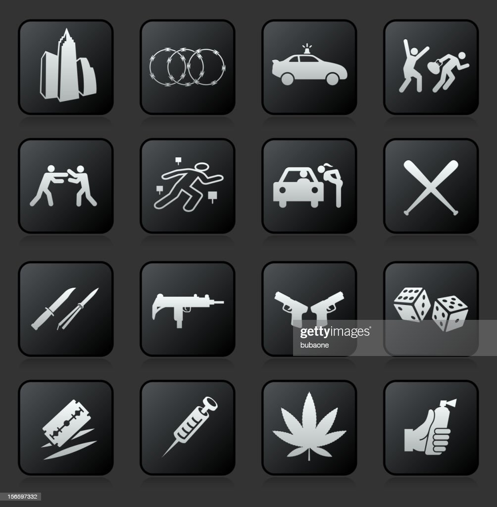 Urban crime and vice royalty free vector icon set