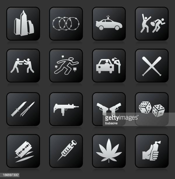 urban crime and vice royalty free vector icon set - submachine gun stock illustrations, clip art, cartoons, & icons