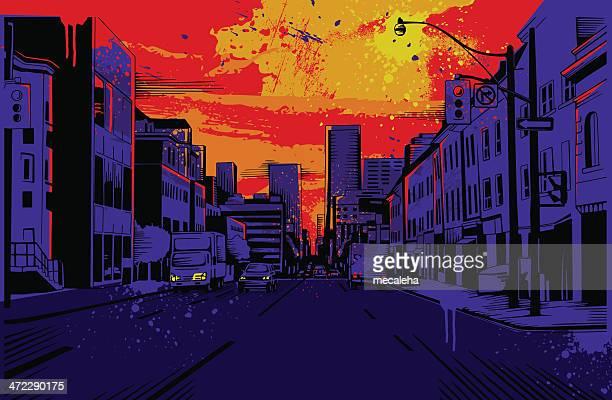 ilustraciones, imágenes clip art, dibujos animados e iconos de stock de diseño urbano - calle urbana