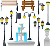 Urban elements set. Street lamps, fountain, park benches and wastebaskets. Vector illustration