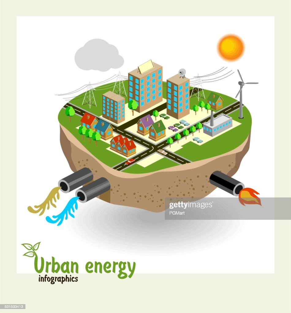 Urban energy engineering communications, conceptual vector illustration