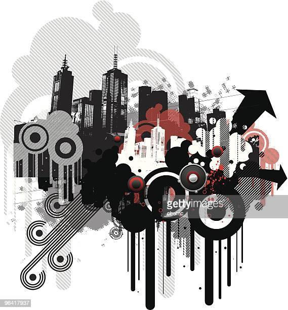 urban funk - melbourne stock illustrations