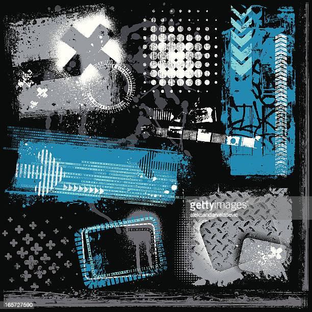bildbanksillustrationer, clip art samt tecknat material och ikoner med urban grunge elements - funky