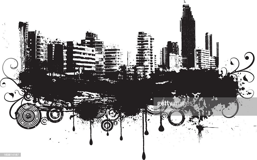 Urban grunge illustration of city