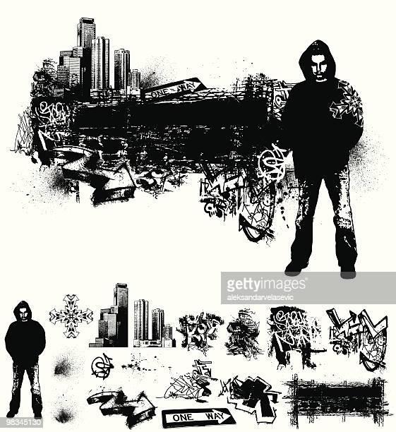 ilustrações de stock, clip art, desenhos animados e ícones de grunge urbano - hip hop
