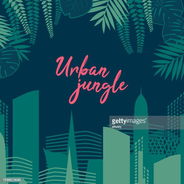 ilustraciones, imágenes clip art, dibujos animados e iconos de stock de fondo de la selva urbana - chuwy