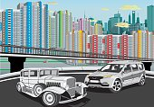 Urban landscape - cars on the background of the metropolis.