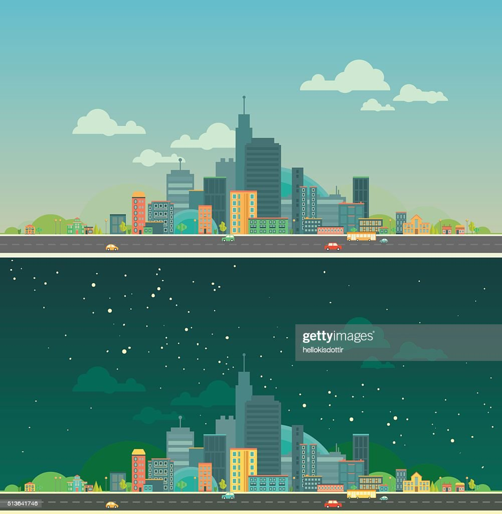 Urban landscape. Flat city. Day and night