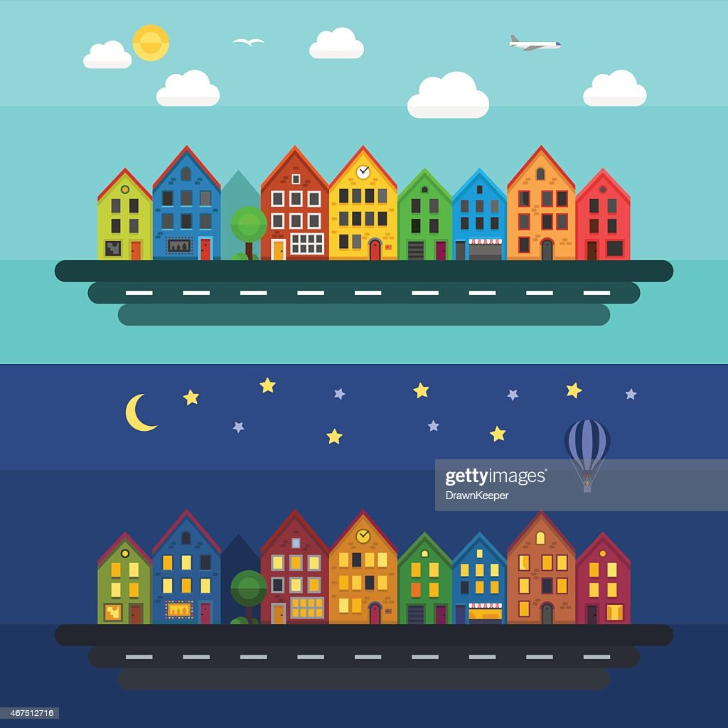 Urban landscape in day and night.