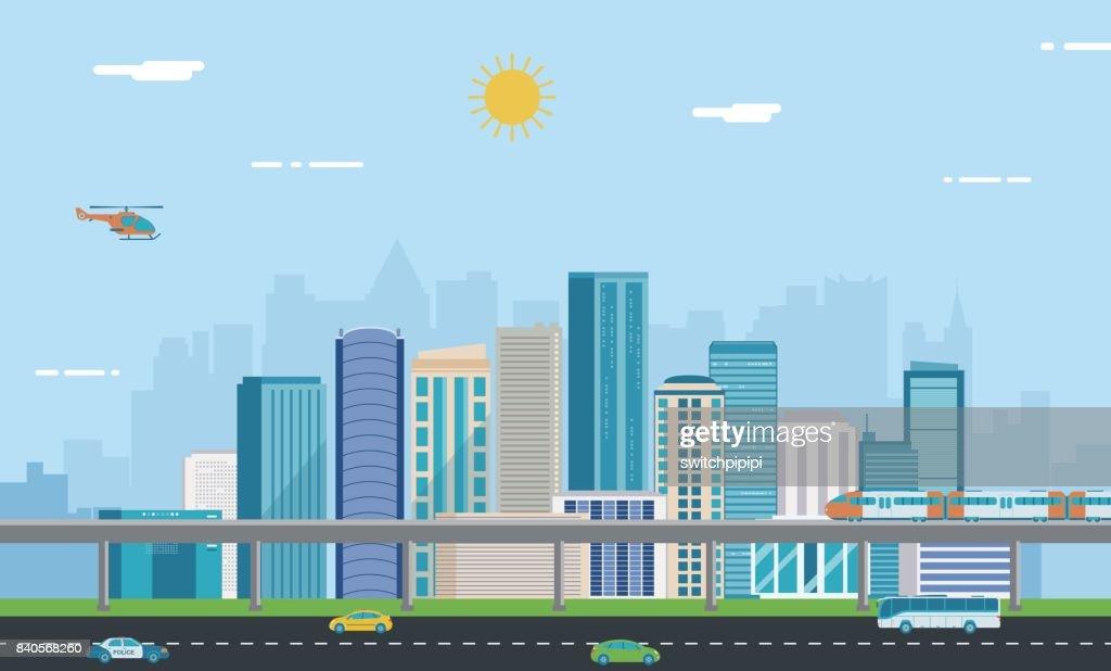 Urban landscape. Modern city. Building architecture, cityscape town. Vector