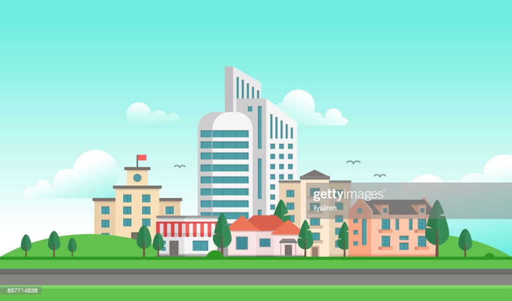 Urban landscape with a road - modern vector illustration