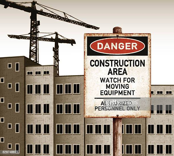 urban landscape with empty buildings and danger construction area placard - asbestos stock illustrations, clip art, cartoons, & icons