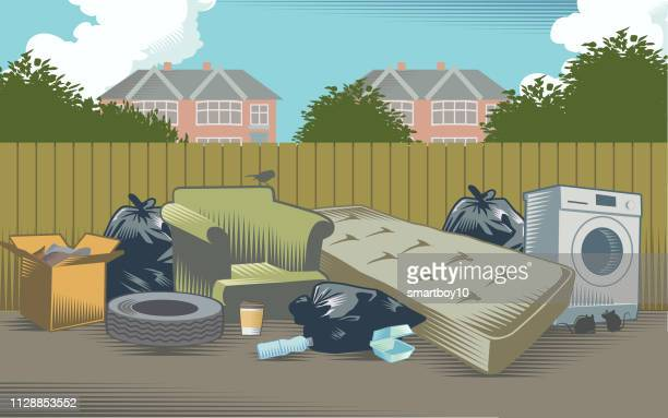 urban landscape with litter - water pollution stock illustrations