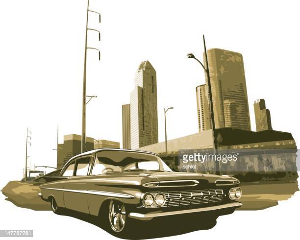 urban lowrider in gold monochromatic - low rider stock illustrations
