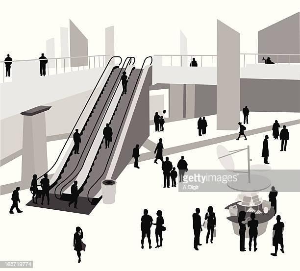 Urban Mall Vector Silhouette