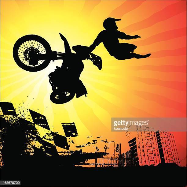 ilustraciones, imágenes clip art, dibujos animados e iconos de stock de urban motocross rider en acción - motocross