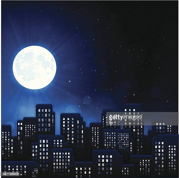 urban night city - illuminated stock illustrations