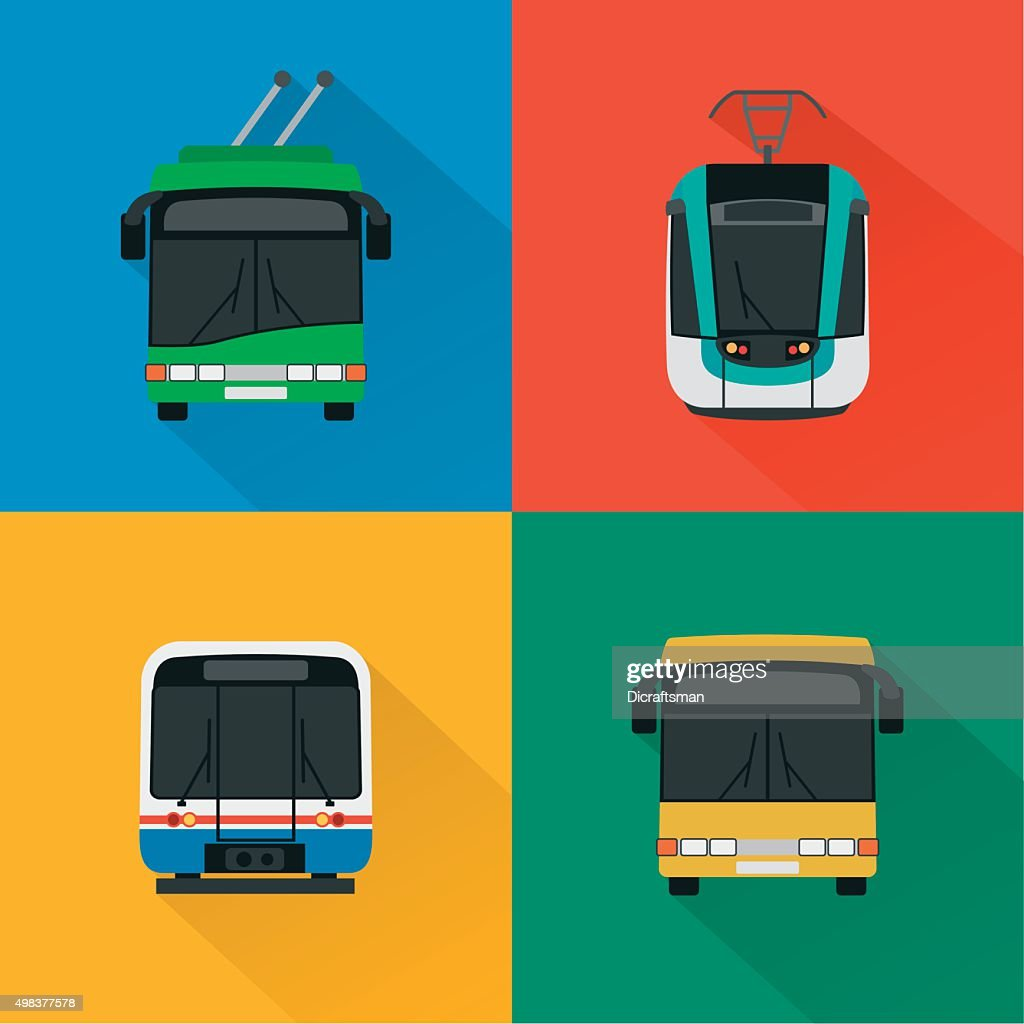 Urban public transport set , modern design flat