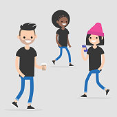 Urban scene. A group of young walking people wearing casual clothes. Millennials. Flat editable vector illustration, clip art