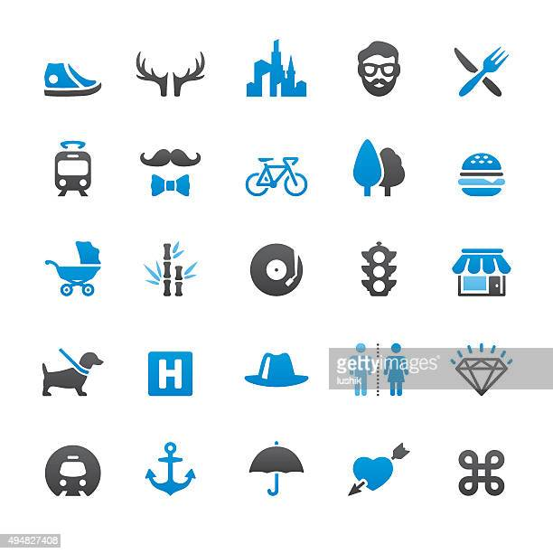 Urban Scene and City Life related vector icons