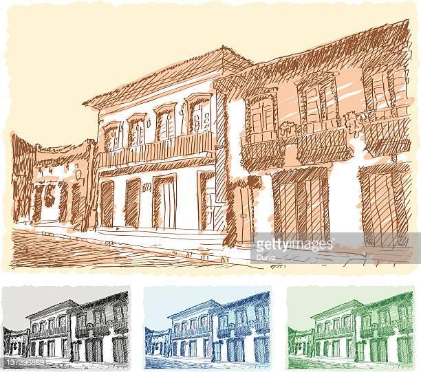 都会の風景のスケッチ - ミナスジェライス州点のイラスト素材/クリップアート素材/マンガ素材/アイコン素材