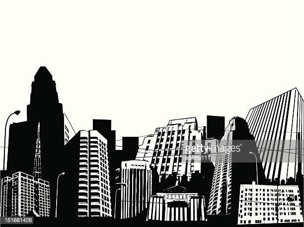 illustrazioni stock, clip art, cartoni animati e icone di tendenza di scena urbana - grattacielo