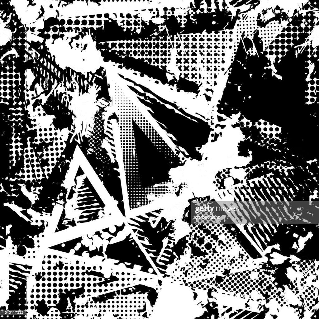 urban seamless grunge texture background. black white spray paint splash.
