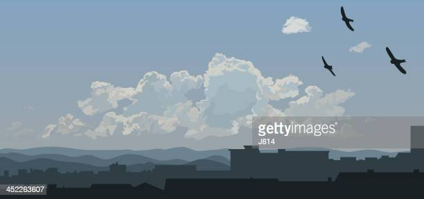 urban skyline - cloudscape stock illustrations, clip art, cartoons, & icons